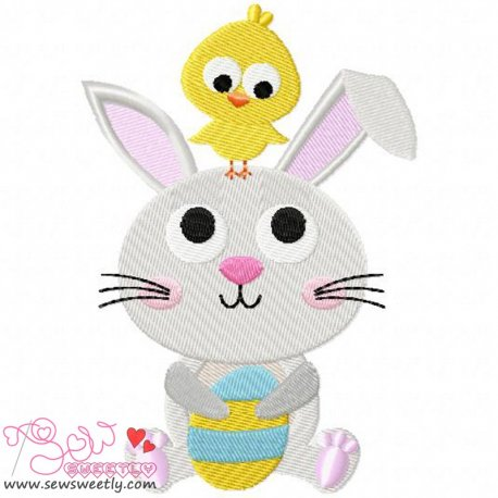 Cute Bunny And Chick Embroidery Design