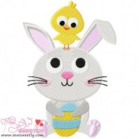 Bunny And Chick Embroidery Design