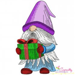 Christmas Gnome With Gift Embroidery Design