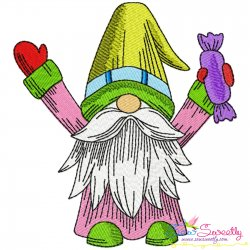 Christmas Gnome With Candy Embroidery Design