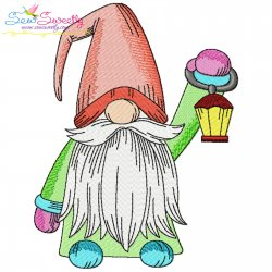 Christmas Gnome With Lantern Embroidery Design