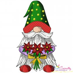 Christmas Gnome With Flowers Embroidery Design