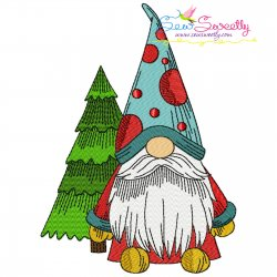 Christmas Gnome With Tree Embroidery Design
