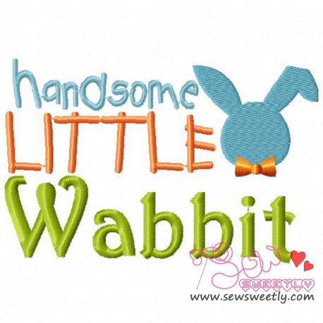 Cute Handsome Little Wabbit Embroidery Design