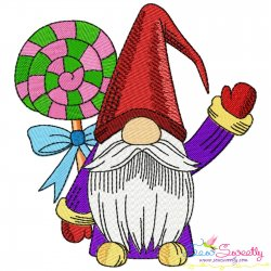Christmas Gnome With Swirl Lollipop Candy Embroidery Design