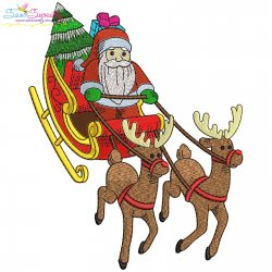 Santa Sleigh-10 Embroidery Design