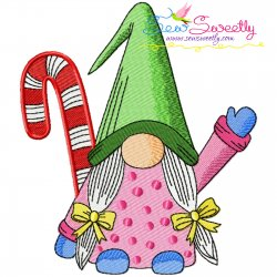 Christmas Gnome With Candy Cane-2 Embroidery Design