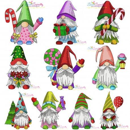 Christmas Gnomes Embroidery Design Bundle