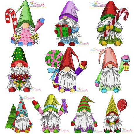 Christmas Gnomes Embroidery Design Bundle