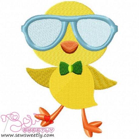 Cute Chick Glasses Embroidery Design