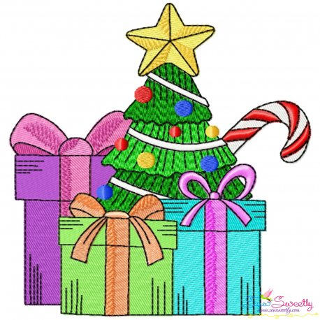 Christmas Tree And Gifts Embroidery Design Pattern- Category- Christmas Designs- 1
