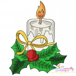 Christmas Candle And Holly Leaves Embroidery Design
