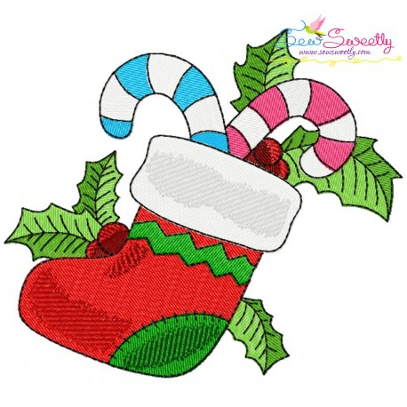 Christmas Stocking Candy Cane Embroidery Design Pattern- Category- Christmas Designs- 1