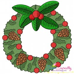 Christmas Wreath With Holly Leaves Embroidery Design