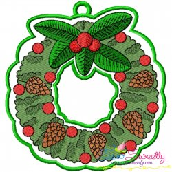 Christmas Wreath Hanger With Holly Leaves Embroidery Design Pattern- Category- In The Hoop (ITH) Designs- 1