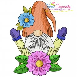 Gnome With Flowers-9 Embroidery Design