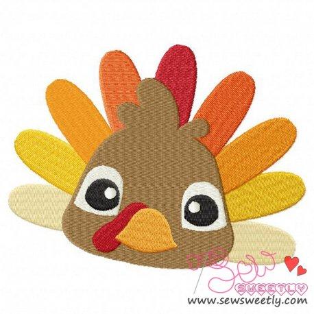 Cute Big Eyed Turkey Embroidery Design