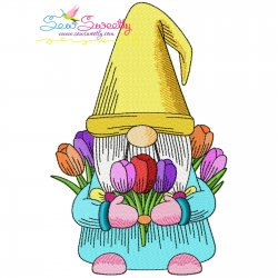 Gnome With Flowers-8 Embroidery Design