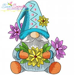 Gnome With Flowers-7 Embroidery Design