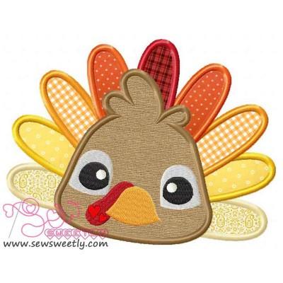 Big Eyed Turkey Applique Design