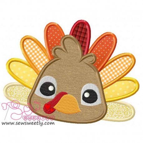 Cute Big Eyed Turkey Applique Design