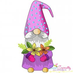 Gnome With Flowers-10 Embroidery Design