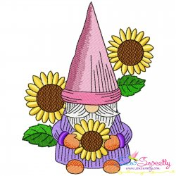 Gnome With Flowers-5 Embroidery Design