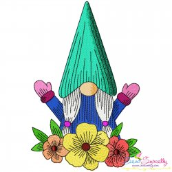 Gnome With Flowers-4 Embroidery Design