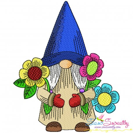 Gnome With Flowers-3 Embroidery Design