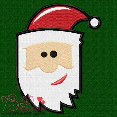 Cute Cartoon Santa Claus Head Embroidery Design
