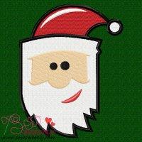 Cartoon Santa Claus Head Embroidery Design