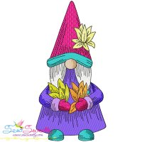 Gnome With Flowers-1 Embroidery Design
