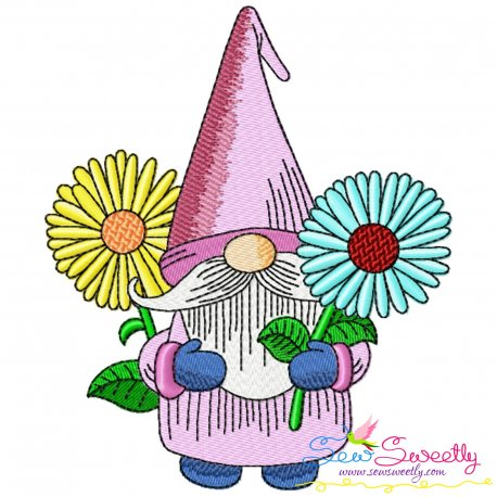 Gnome With Flowers-2 Embroidery Design