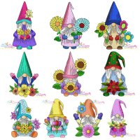 Gnomes With Flowers Embroidery Design Bundle