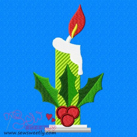 Cute Christmas Candle Embroidery Design