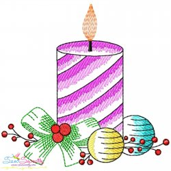 Christmas Candle-10 Light Fill Embroidery Design