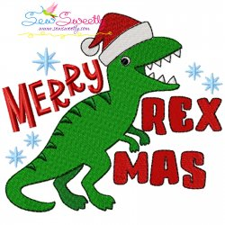 Merry RexMas Dinosaur Christmas Lettering Embroidery Design