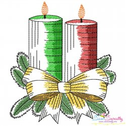 Christmas Candles-9 Light Fill Embroidery Design Pattern- Category- Christmas Designs- 1