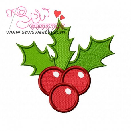 Beautiful Christmas Holly Leaves Embroidery Design