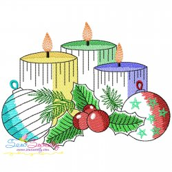 Christmas Candles-8 Light Fill Embroidery Design Pattern- Category- Christmas Designs- 1
