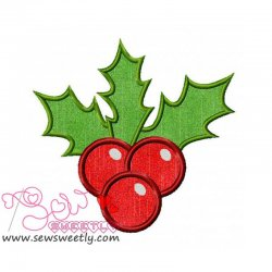 Christmas Holly Leaves Applique Design