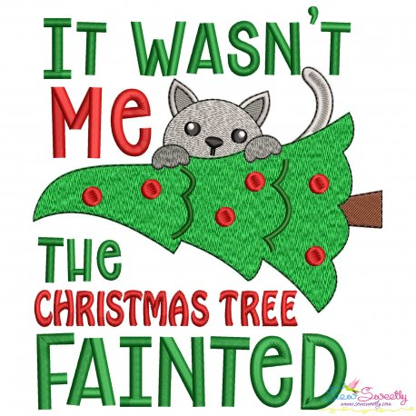 Christmas Tree Fainted Lettering Embroidery Design