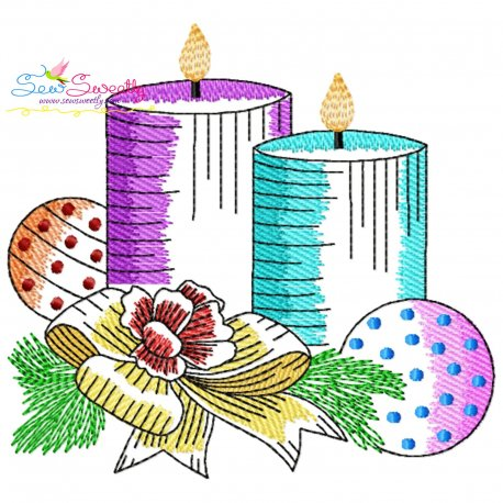 Christmas Candles-7 Light Fill Embroidery Design Pattern- Category- Christmas Designs- 1