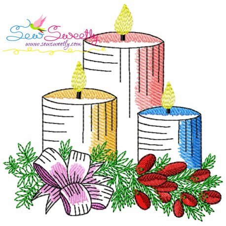 Christmas Candles-6 Light Fill Embroidery Design Pattern- Category- Christmas Designs- 1