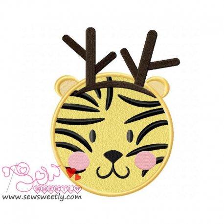Cute Christmas Tiger Face Applique Design