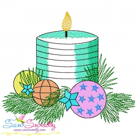 Christmas Candle-5 Light Fill Embroidery Design Pattern- Category- Christmas Designs- 1