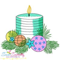 Christmas Candles-5 Light Fill Embroidery Design