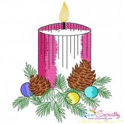 Christmas Candle-4 Light Fill Embroidery Design Pattern- Category- Christmas Designs- 1