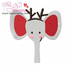 Christmas Elephant Face Embroidery Design