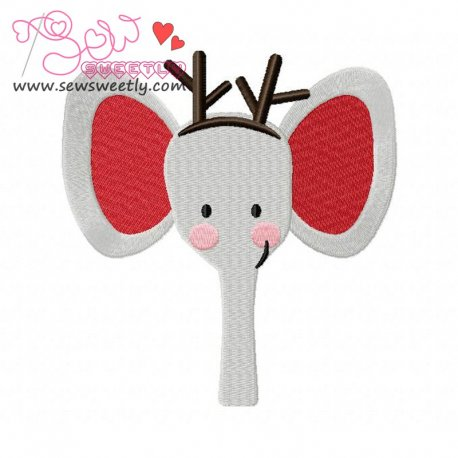 Cute Christmas Elephant Face Embroidery Design